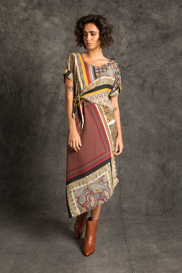 Gansu Bias Wrap Dress