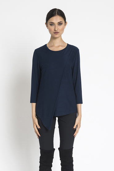 Long knit top w Folded Front