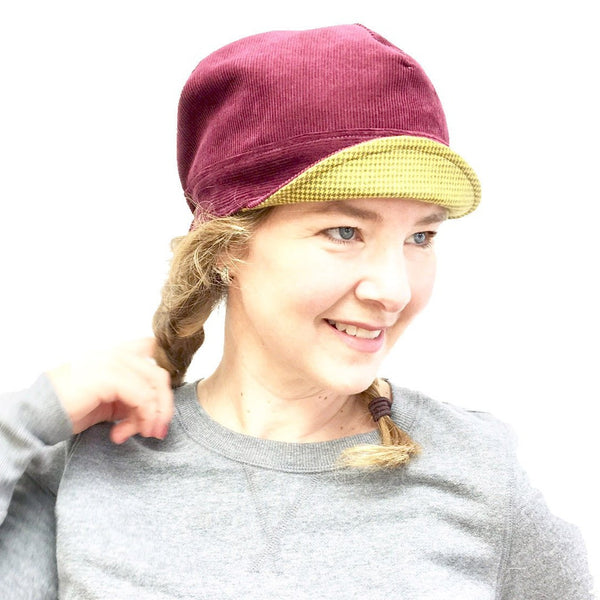 Sister Newsboy Hat,  Reversible Wine Corduroy and Mustard Flannel