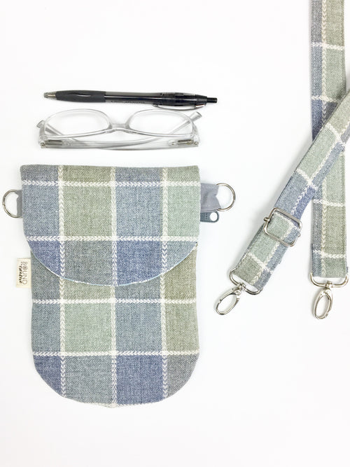 Cell Phone Bag // The HIP Mini // Blue Picnic