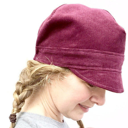 Spring Floral Newsboy Hat for Women // Reversible // Red Linen and Floral Cotton