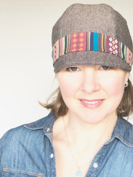 Summer Lightweight Hat, Women's Coffee Brown and Deep Teal Linen Spring Hat