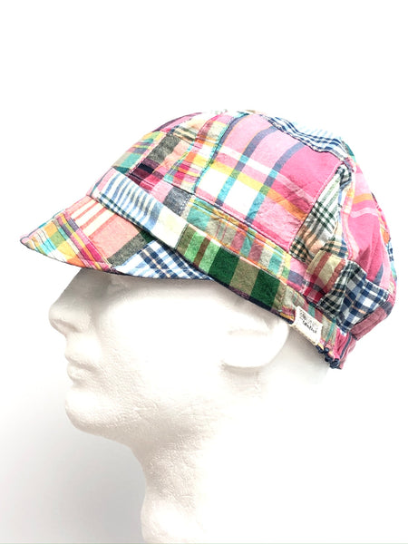 Adorable Plaid Curvy Sister Newsboy Hat, Reversible Blue Linen-Blend, Spring and Summer Hat for Women, Cute Chemo Hat