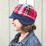 Women's Winter Fleece Hat, Winter Hat for Women, Red and Navy Plaid