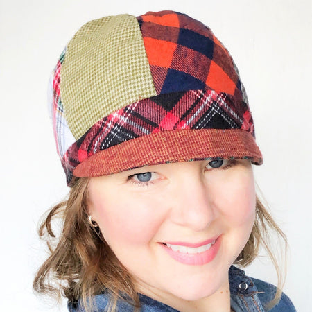 Patches Hat, OOAK Cap for Women, LARGE Brown Plaid Hat, Ready to Ship, L138