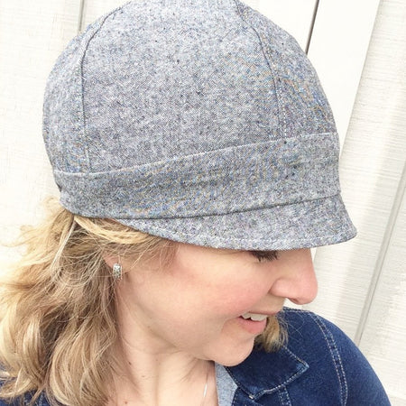 Women's Handmade Fabric Cloche Hat // Blue Flannel and Charcoal Corduroy