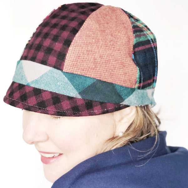 Patches Hat, OOAK Cap for Women, LARGE Wine Plaid Hat, Ready to Ship, L148