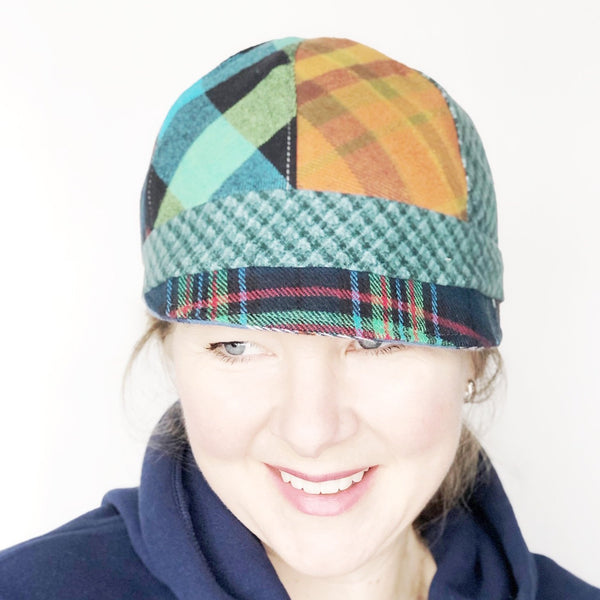Patches Hat, OOAK Cap for Women, LARGE Brown Plaid Hat, Ready to Ship, L142