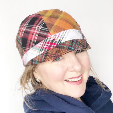 Patches Hat, Plaid Cap for Women, Size MEDIUM, Reversible Hat, Red Hat, Ready to Ship