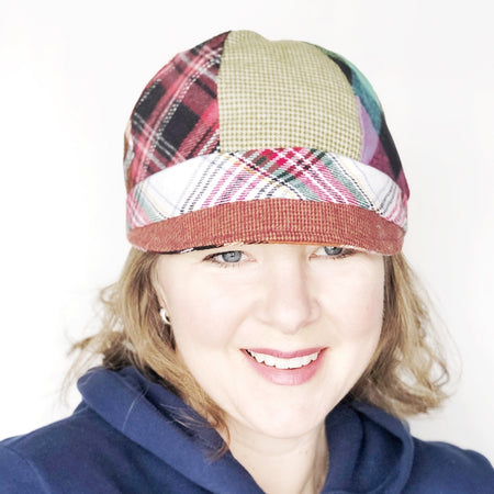 Patches Hat, OOAK Cap for Women, LARGE Brown Plaid Hat, Ready to Ship, L140