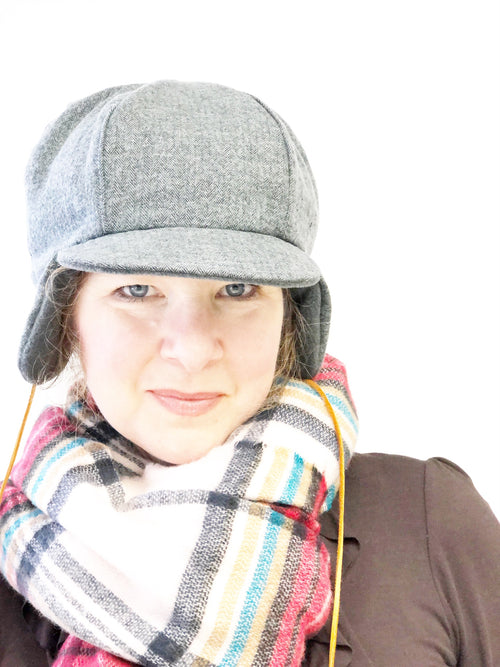 Unisex Ear Flap Hat, Bomber Hat with Flaps, Grey Fleece and Flannel