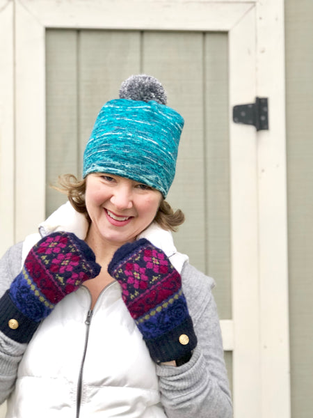 Easy Steal Teal Winter Pom Pom Hat for Women