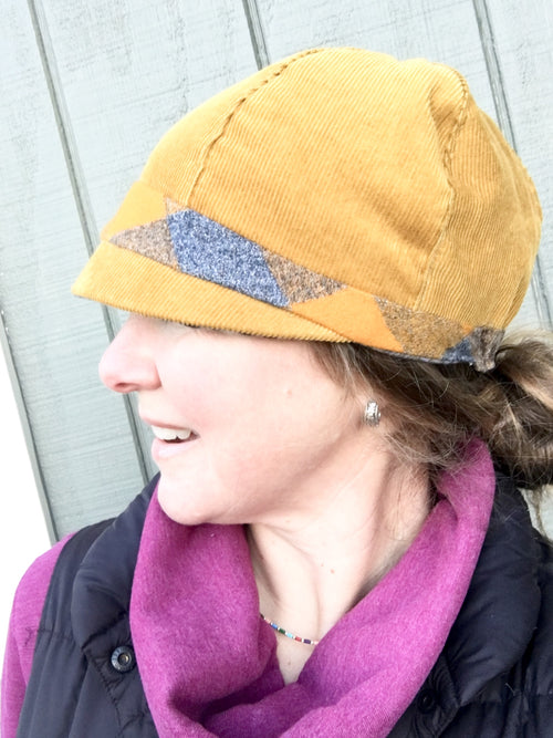 Women's Mustard Cloche Hat, Black and Grey Patchwork Cap for Women