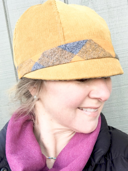 Patchwork Cap for Women, Women's Mustard Cloche Hat, Black and Grey Hat