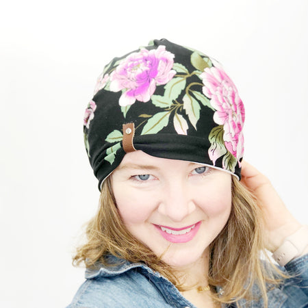 The Patches Hat // Women's Spring Cloche Hat // Handmade Reversible Hat // Denim Floral
