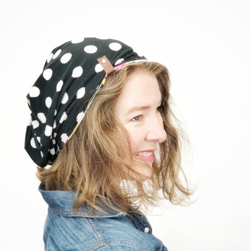 Women's Reversible Stretch Knit Hat, Soft Cotton Beanie, White Dots on Black and Floral Strips, Size Large, L371