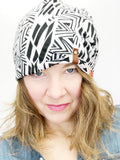 Women's Reversible Stretch Knit Hat, Soft Cotton Beanie, Black with Coral Floral Print, Size Large, L359