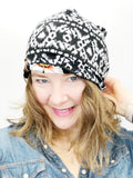 Women's Stretch Knit Reversible Hat, Soft Cotton Beanie, Black with Coral Floral Print, Size Large, L357