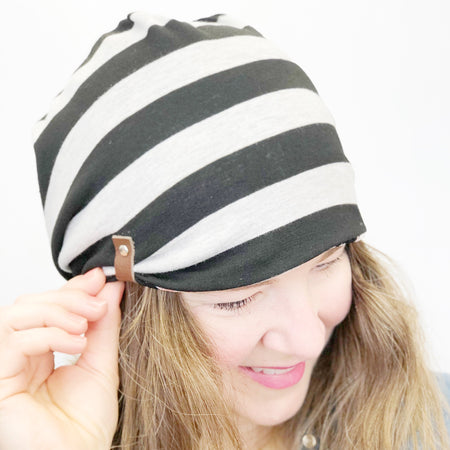 Women's Spring Hat, Soft Cotton Reversible Beanie, Black Dots with Grey and Black Stripes, Size Large, L361