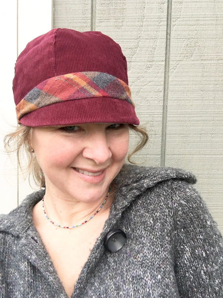 Women's Wine Cloche Hat, Wine and Red Patchwork Cap for Women