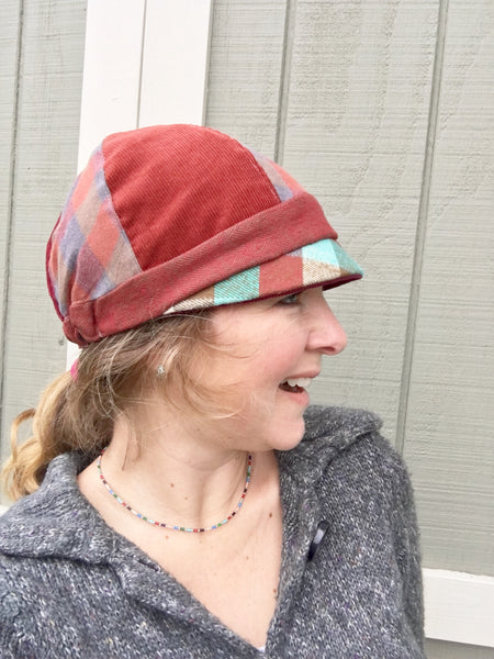 Women's Red Cloche Hat, Wine and Red Patches Hat for Women, Red Hat