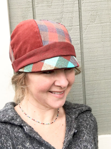Women's Red Cloche Hat, Wine and Red Patchwork Cap for Women, Red Hat