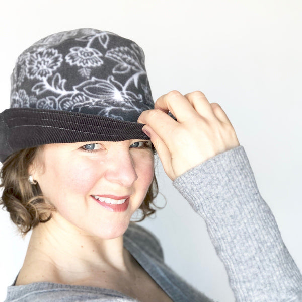 Winter Wide Brim Hat, Grey Corduroy Hat for Women
