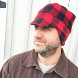Men's Winter Beanie Hat,  Buffalo Plaid Fleece