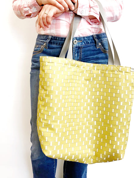 GET·IT·DONE XL Tote, Reversible Bag, Cream White Tote Bag, Fun Chartreuse Green Bag, Recycled Fabric, Reversible Tote, Market Bag, Work Bag, Sturdy Tote, Women's Retreat Bag, Vacation