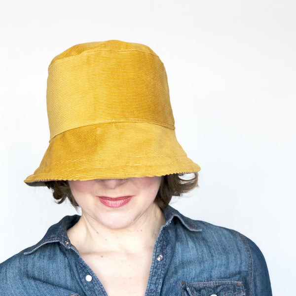 Winter Wide Brim Hat, Corduroy Hat for Women, Mustard