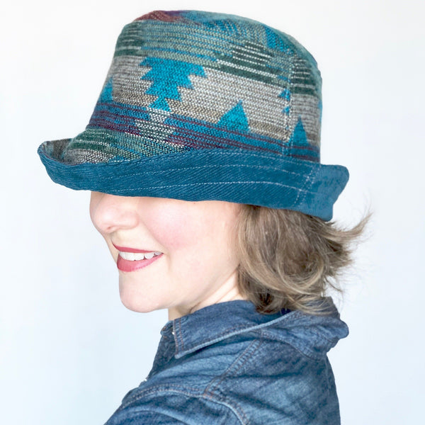 Winter Wide Brim Hat, Corduroy Hat for Women, Deep Ocean Corduroy