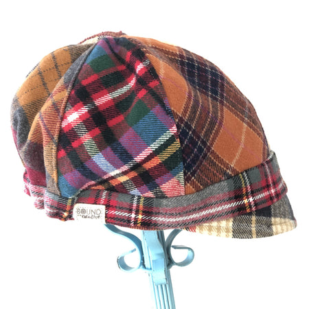 Patches Hat, OOAK Cap for Women, SMALL Mustard Plaid Hat, Ready to Ship, S146