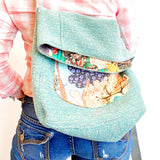 HAUL IT ALL Crossbody Bag, Teal and Floral Extra Large Tote, Bag for College, Market Boho Cross-body, Ready to Ship