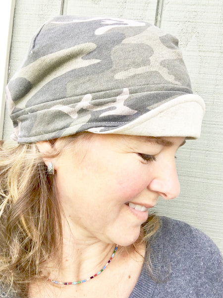Floral Newsboy Hat for Women // Reversible // Grey Linen and Floral Cotton