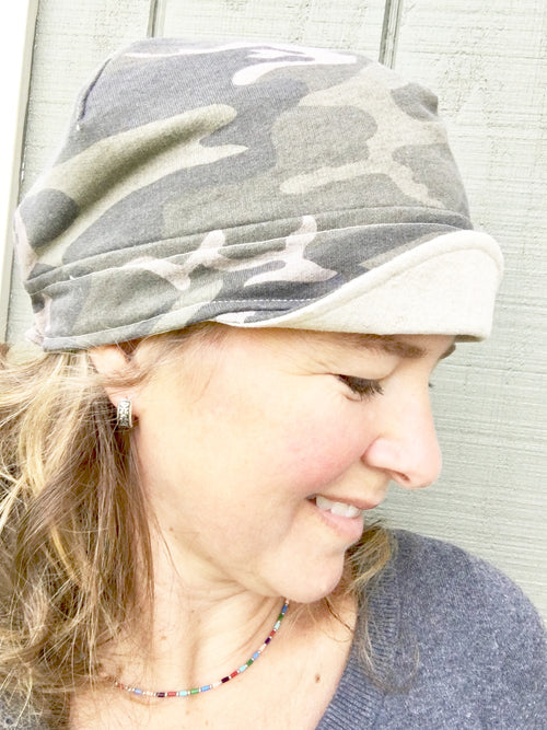 camouflage newsboy hat for women