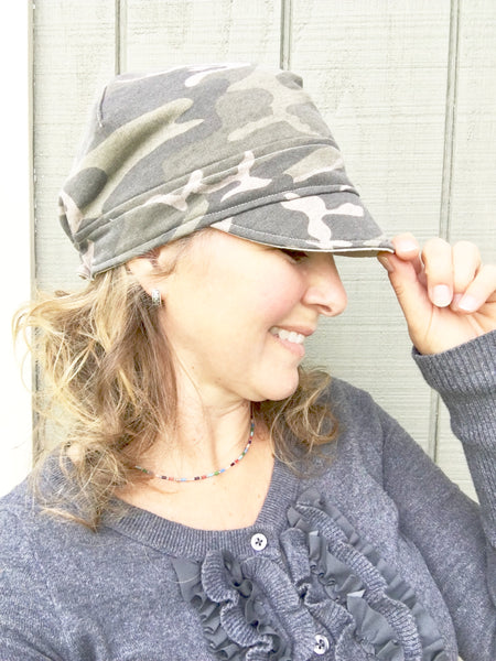 camouflage hunting newsboy hat for women