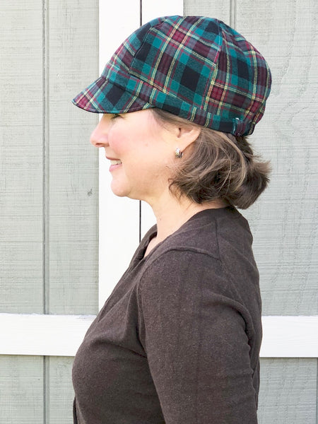 Coffee Brown Woman's Hat, Curvy Sister Newsboy, Reversible Baseball Hat