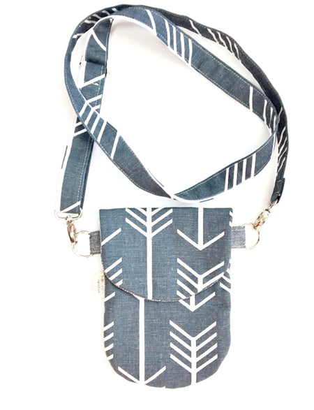 Mobile Phone HIP Mini Bag, Cross-body Mini Purse, Grey Canvas Bag, Adjustable Strap