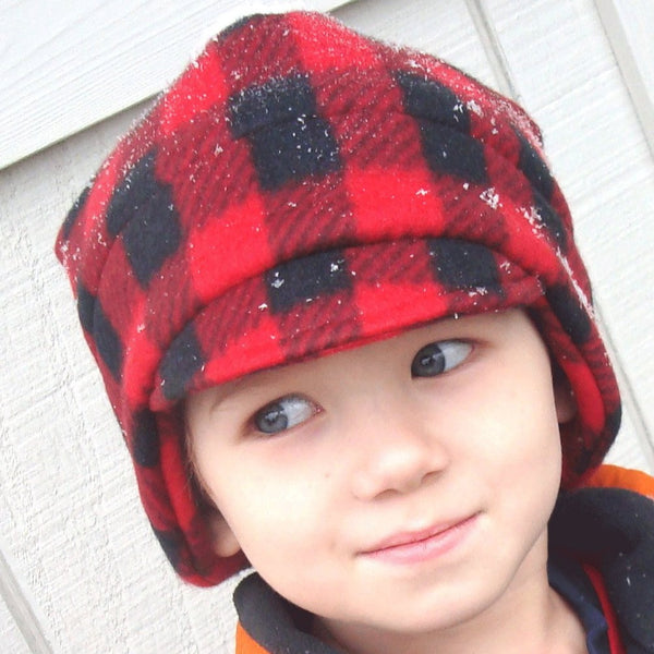 Boys Winter Fleece Hat, Red and Black Plaid
