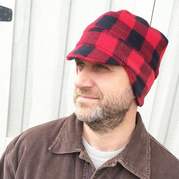 Men's Fleece Hat - Men's Buffalo Plaid Winter Fleece Hat - Teen Boy Winter Hat - Warm Hat for Guys - Outdoor Accessories for Men