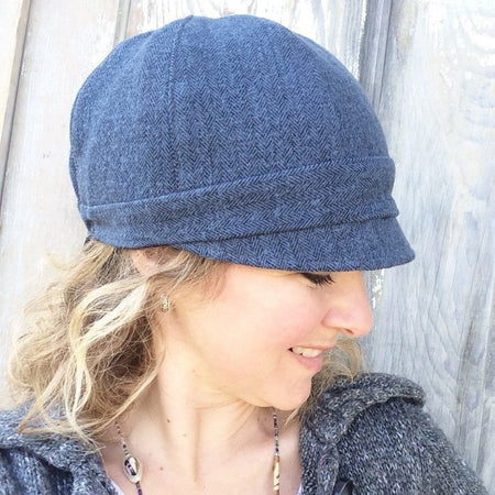 Women's Reversible Cloche Hat // Rust Red Corduroy and Grey Herringbone Flannel