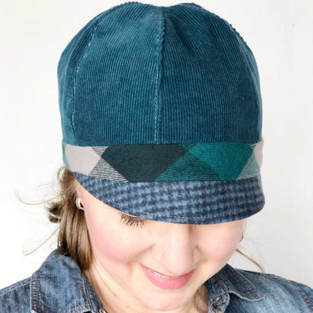 Patches Hat, OOAK Cap for Women, LARGE Grey and Teal Hat, Ready to Ship, L144