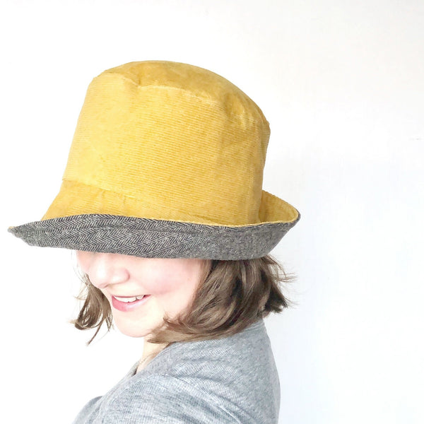 Winter Wide Brim Hat, Corduroy Hat for Women, Charcoal Grey and Mustard Yellow Colors