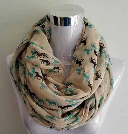 Running Horse Scarf - Infinity or Traditional - 6 Colors