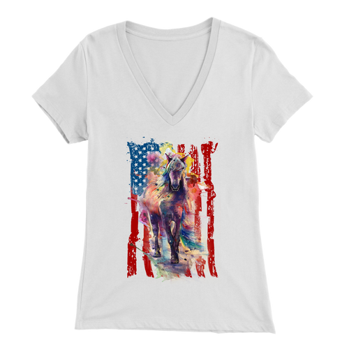 AMERICAN COWGIRL - LADIES V-NECK