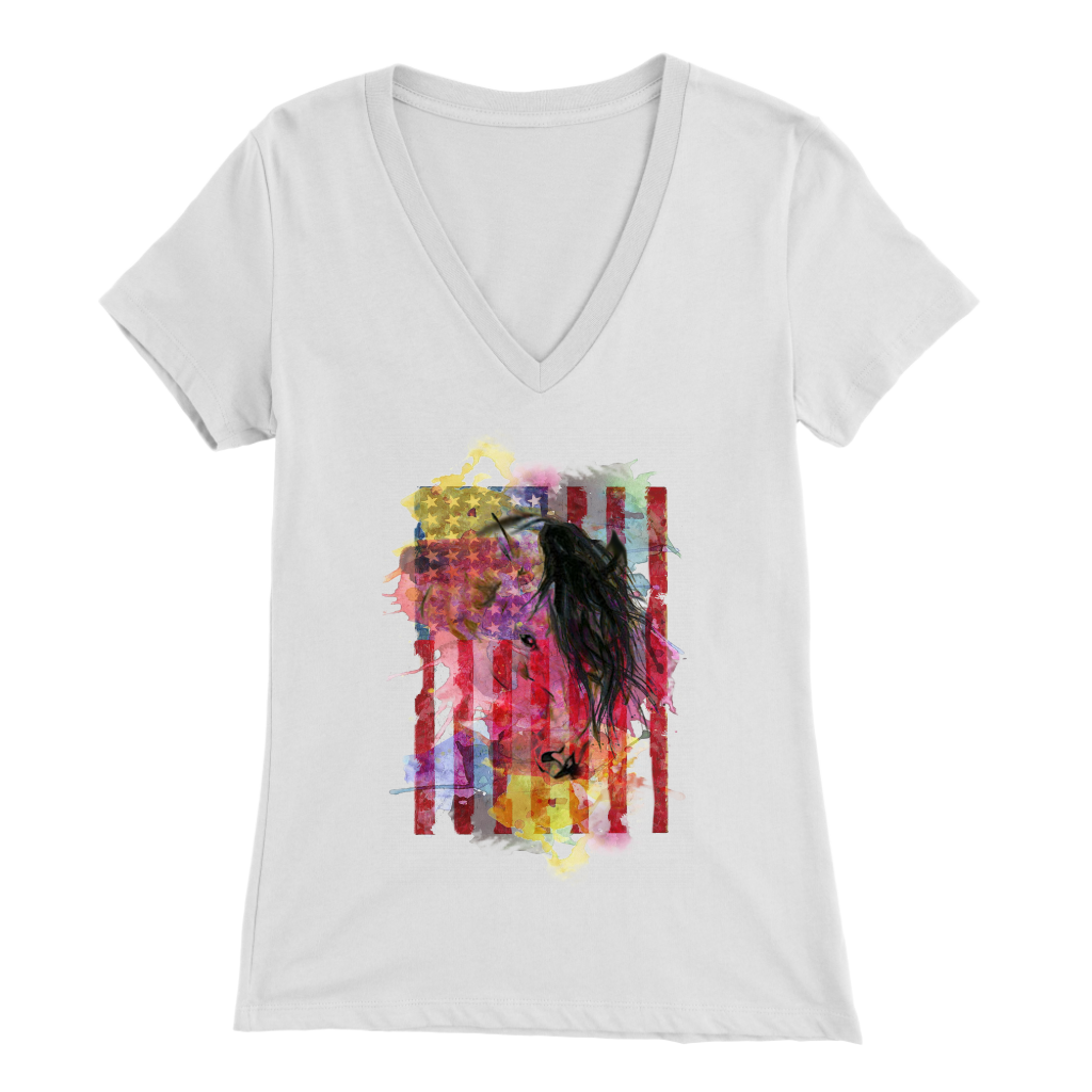 AMERICAN MUSTANG - LADIES V-NECK