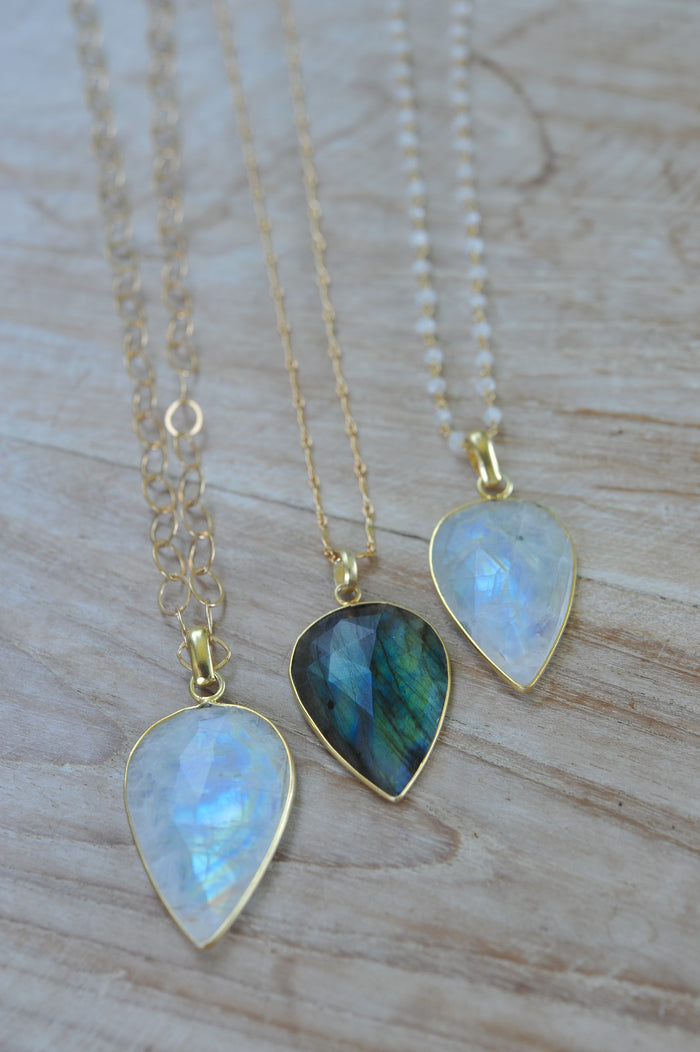 Bezeled Gem Drop Necklace