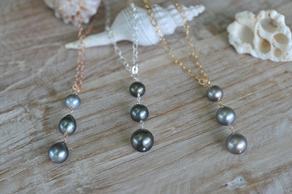 Triple Tahitian Drop Necklace