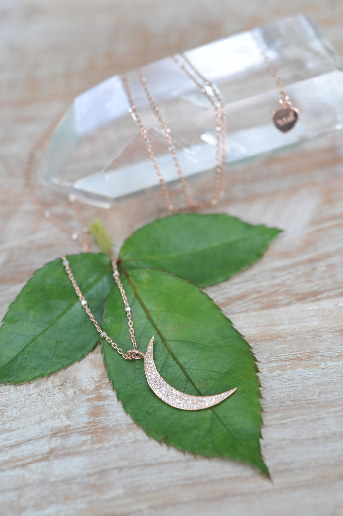 White Topaz Crescent Moon Necklace