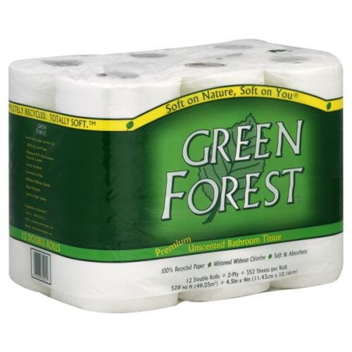 Green Forest Bathroom Tissue - Double Roll 2 Ply - Case of 4 - 12 rolls